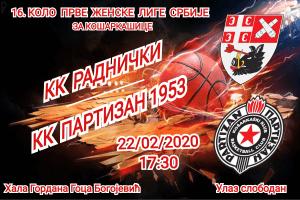Košarkašice Radničkog dočekuju Partizan u derbiju sredine tabele